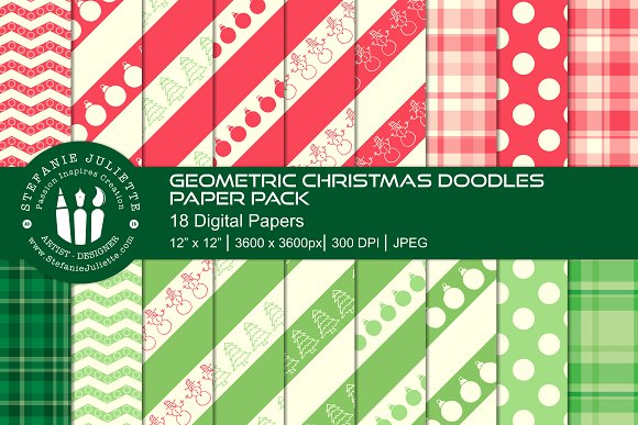 Geometric Christmas Doodle Pack in Patterns