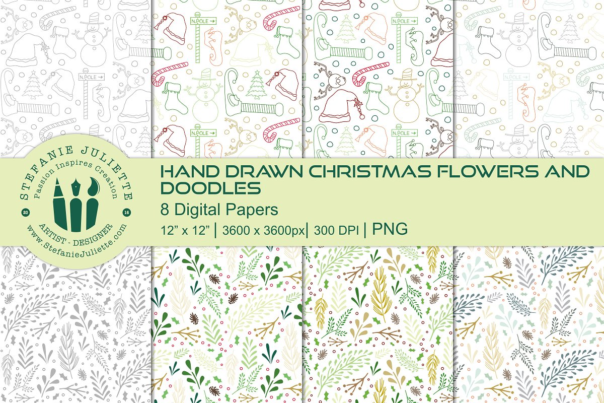 Christmas Flowers & Doodle Patterns