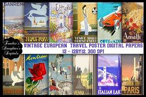 Vintage Europe Travel Digital Papers