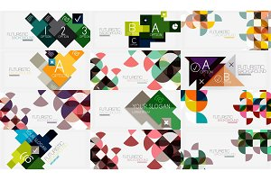 Set of geometric triangle and circle backgrounds