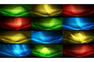 Set of vector neon flowing wave abstract backgrounds