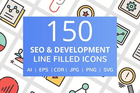 150 SEO & Development Filled Icons