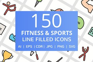 150 Fitness & Sport Filled Line Icon
