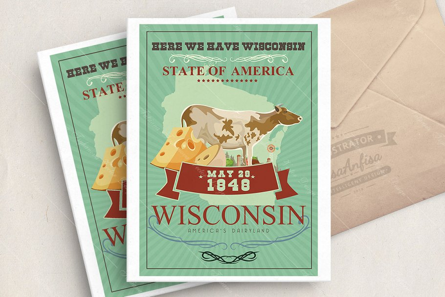 Wisconsin vector illustration in Illustrations