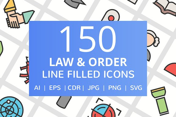 150 Law Order FIlled Line Icons