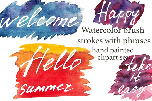 Watercolor brush strokes, words