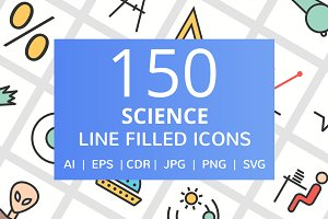 150 Science Filled Line Icons