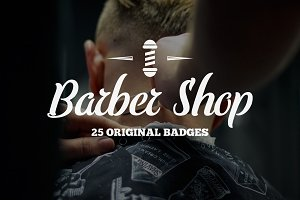 Vintage Barber Shop Badges & Labels