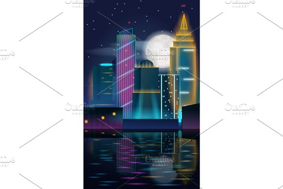 Big city night landscape with skyscrapers in neon lights with reflection in the water.