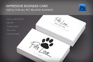 Pet lovers shop clinic business card