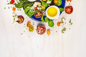 Healthy salad with dressings