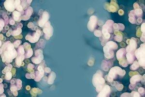 Aqua pink blurred floral background