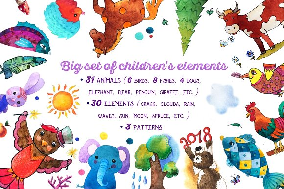Big set of children's elements