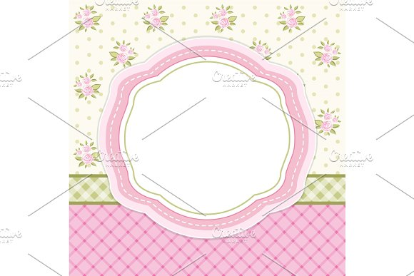 Retro Floral Oval Frame With Roses In Shabby Chic Style