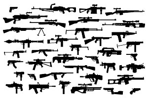 Firearms. Vector big set of different modern fire weapons. Black silhouettes on white isolated background. Side view
