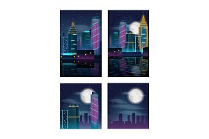 Night city skyscrapers. Buildings in neon lights. Set of posters