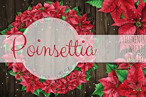Poinsettia Watercolor Clip Art