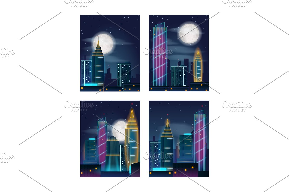 Night city landscape with buildings in neon lights. Night city skyscrapers. Set of posters