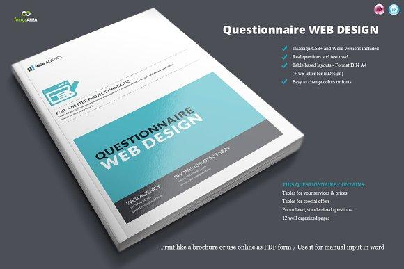 Questionnaire web design brochure templates creative market questionnaire web design brochures maxwellsz