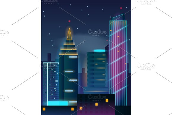 Night city skyscrapers. Buildings in neon lights.