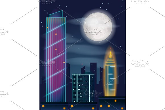 Night in the city. Buildings, full moon and stars