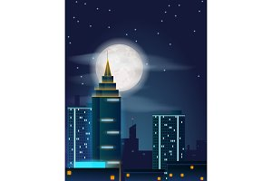 Vector poster design with night city buildings