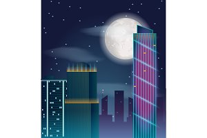 Vector poster design with night city buildings.