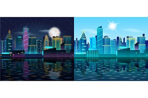 Big city day and night landscape. Buildings reflection in the water.