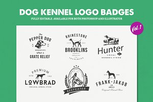 Dog Kennel Logo Badges