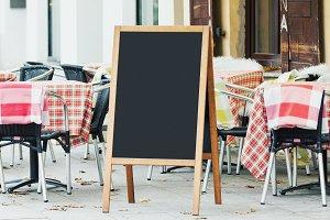 Blank menu chalkboard mockup