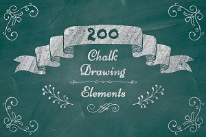 200 Chalk Drawing Elements