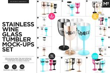 Stainless Wine Glass Tumblers Mockup