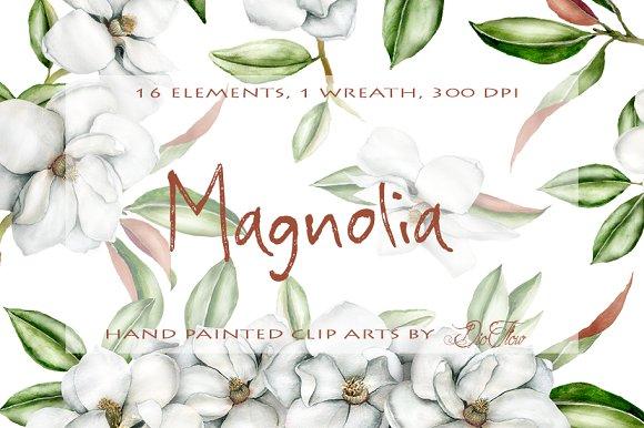Magnolia Watercolor Clip Art