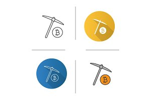 Navvy pick with bitcoin sign icon
