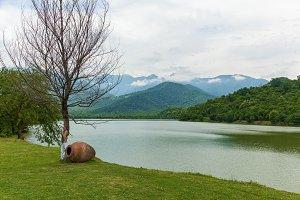 Beautiful view of blue lake and mountains. Georgia