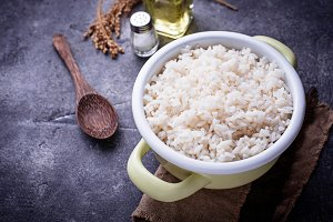 White boiled rice on pot