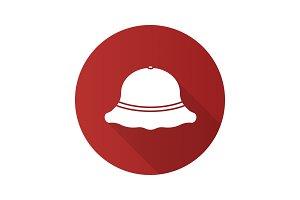 Fisherman hat flat design long shadow glyph icon