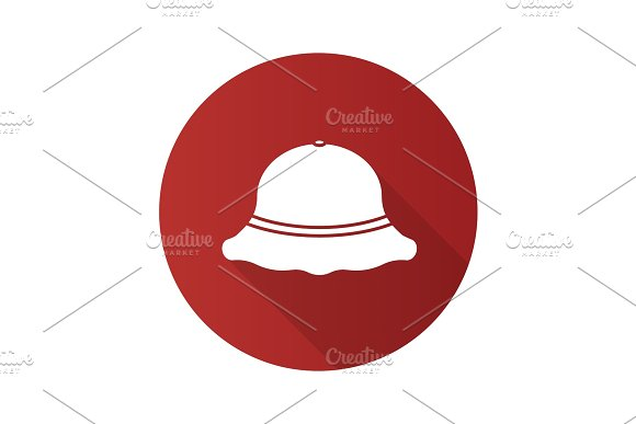 Fisherman Hat Flat Design Long Shadow Glyph Icon