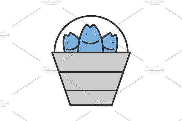 Bucket With Fish Color Icon