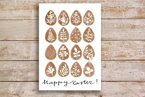 Watercolor Easter Eggs card&clipart