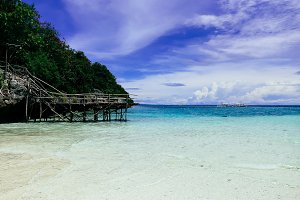 Clear beach island with blue sky in Philippines, Asia