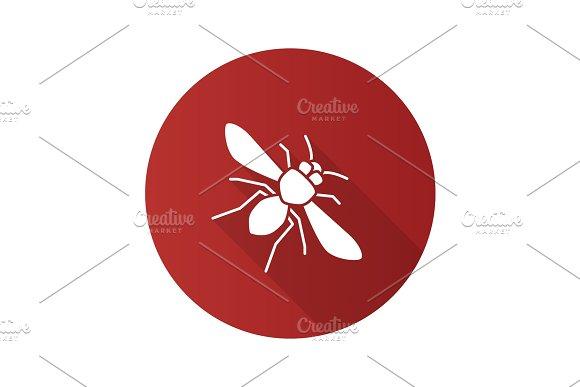 Honey Bee Flat Design Long Shadow Glyph Icon