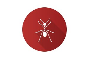 Ant flat design long shadow glyph icon
