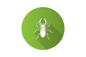 Stag beetle flat design long shadow glyph icon