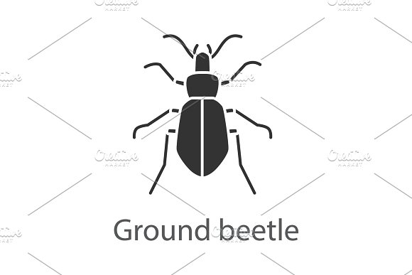 Ground beetle glyph icon
