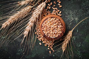 Wheat grains and spikelets on rusty background.