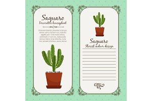 Vintage label with saguaro plant