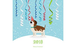 Dog and ribbons 2018 christmas card