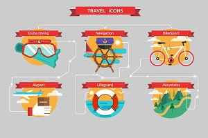 Vector traveling icons