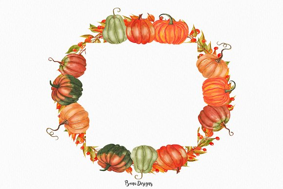 Watercolor Pumpkin Illustration in Illustrations - product preview 3